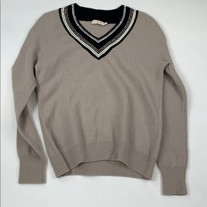 Tory Burch Beaded Collar Sweater